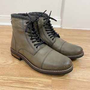 Crevo Camden Combat Boots Taupe Leather US Size 11